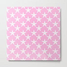 Starfishes (White & Pink Pattern) Metal Print