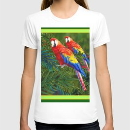 GREEN JUNGLE 2 RED MACAW PARROTS T-shirt
