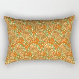 Art-Deco Print - The Gherkin – London - Orange, Green, White Rectangular Pillow