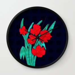 Red flowers gladiolus art nouveau style Wall Clock