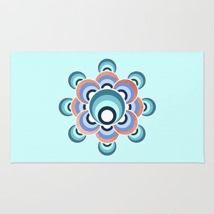 70's flower Aqua palette Rug