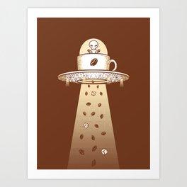 Alien Coffee Invasion Art Print