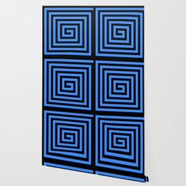 GRAPHIC GRID SWIRL ABSTRACT DESIGN (BLACK AND BLUE) SERIES 1 OF 6 Wallpaper