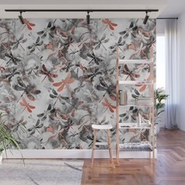 Dragonfly Lullaby in Marble and Rose Gold Wall Mural