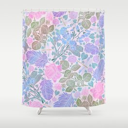 Modern Chic Lavender Blue Pink Watercolor Floral Shower Curtain