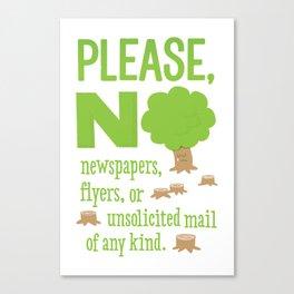 No Junk Mail Sign Canvas Print
