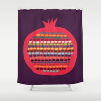 pomegranate Shower Curtains featuring Pomegranate by Picomodi