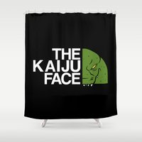 kaiju Shower Curtains featuring The Kaiju Face by Buby87