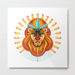 Lion face illustration Metal Print