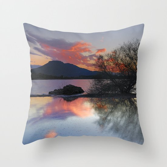 Trees in the water at the red sunset Throw Pillow