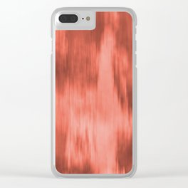 Pantone Living Coral Fusion Abstract Watercolor Blend Clear iPhone Case