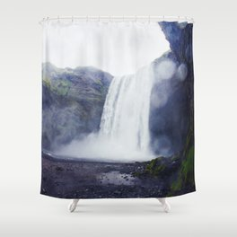 Standing at a Waterfall in Iceland Shower Curtain