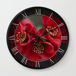 Red Chaenomeles flowers Wall Clock