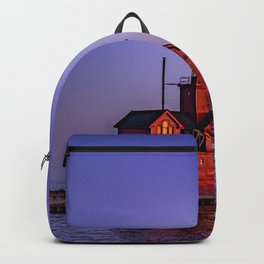 Big Red Lighthouse at Dusk - Holland Michigan Backpack