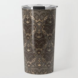 Oriental Pattern -Pastels and Brown Leather texture Travel Mug