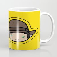 indiana jones Mugs featuring Indiana Jones Kawaii by Aimee Liwag