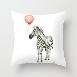 Baby Zebra with Red Balloon Throw Pillow