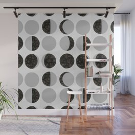 Moon Phases - White Wall Mural