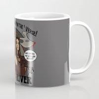buffy Mugs featuring Buffy vs River by Karen Hallion Illustrations