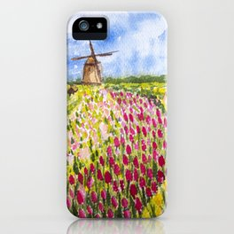 Tulips Field under the Cloudy Sky iPhone Case