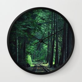 Train Rails in the Forest Wall Clock