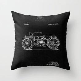 Motorcycle Blueprint 1919 Throw Pillow