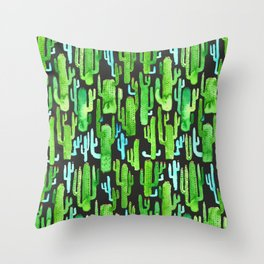 cactus on black pattern Throw Pillow