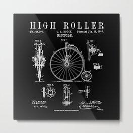 Bicycle High Roller Old Vintage Patent Drawing Print Metal Print