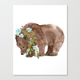 Bear with flower boa Canvas Print