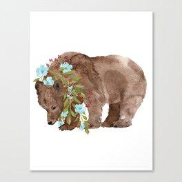 Bear with flower boa Canvas Print
