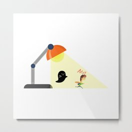 Ghost Chasing Small Human Under A Light Lamp Metal Print