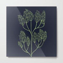 Leaf-like Sumac on Navy Metal Print