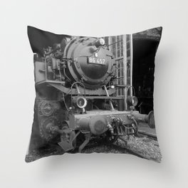 Old steam locomotive in the depot ZUG008CBx Le France black and white fine art photography by Ksavera Throw Pillow