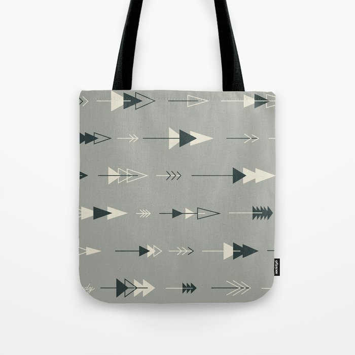 Forest Ready trees & arrows pattern (gray) Tote Bag