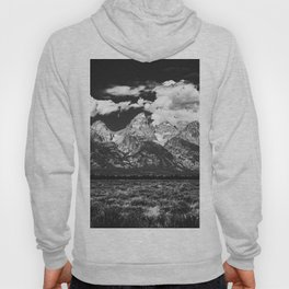 Mountain Summer Escape - Black and White Tetons Hoody