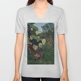 Henri Rousseau, The Equatorial Jungle, monkeys in the forest Unisex V-Neck