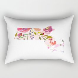 massachusetts pink floral state map watercolor Rectangular Pillow