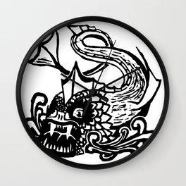 Demon Fish Wood Block Print Wall Clock