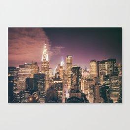 New York City - Chrysler Building Lights Canvas Print