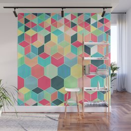 Yummy Summer Colour Honeycomb Pattern Wall Mural