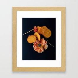 Moody Orange Beets and Rose Framed Art Print