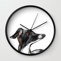 greyhound Wall Clocks featuring Italian Greyhound by James Peart