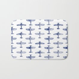 Blue Watercolor Airplanes Bath Mat