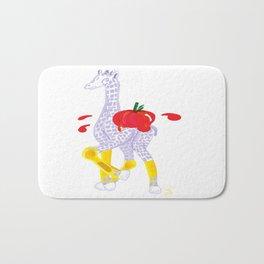 Thanksgiving Food Fight Tomatoe - Midas is Ready - Christmas Lavender Giraffe Bath Mat