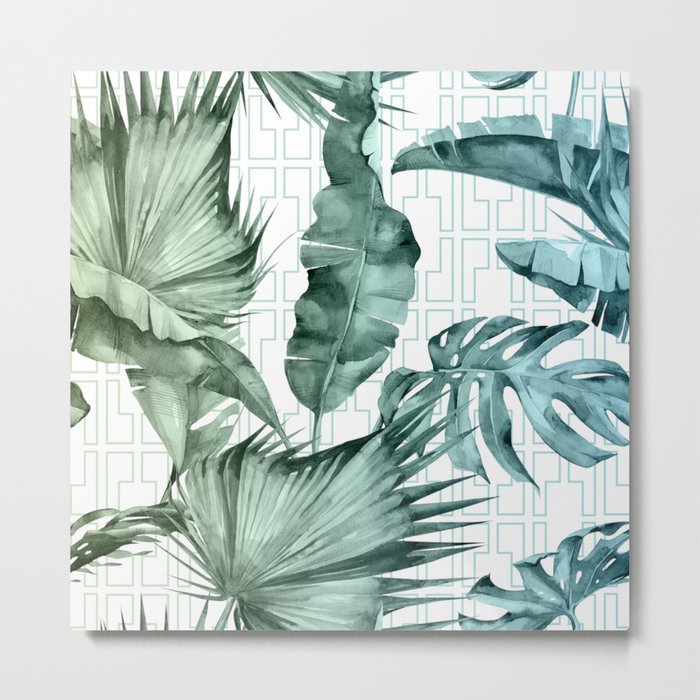 Mod Tropical Palm Leaves in Turquoise Green Blue Gradient Metal Print