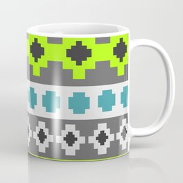 Bright tribal stripes in green and blue Coffee Mug
