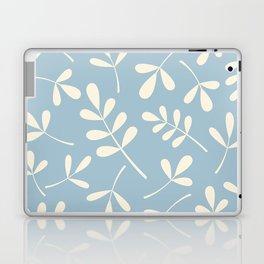 Cream on Blue Assorted Leaf Silhouettes Laptop & iPad Skin