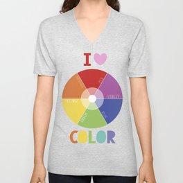 I love color colorwheel Unisex V-Neck