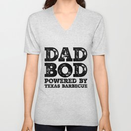Dad Bod Powered By Texas Barbecue Funny Food Lovers Father Figure Gifts Idea Unisex V-Neck