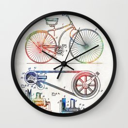 Colorful Bike Art - Vintage Patent - By Sharon Cummings Wall Clock